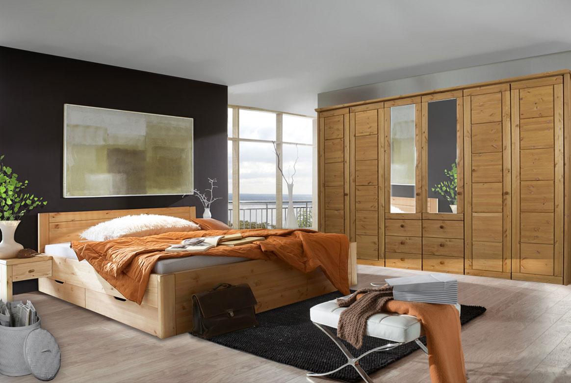 Massivholz Schlafzimmer Vita gebeizt - geölt