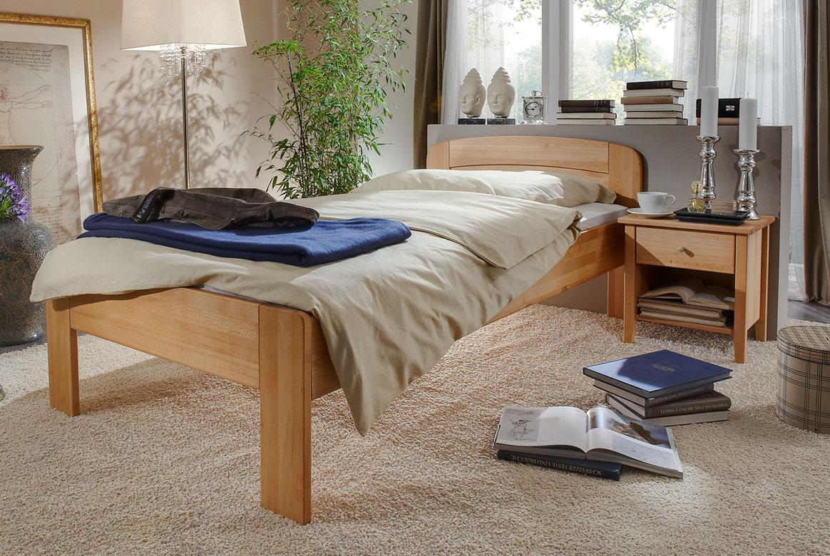 Abbildung M&H Seniorenbett Massivholz höhenverstellbar Comfort IV | CS4