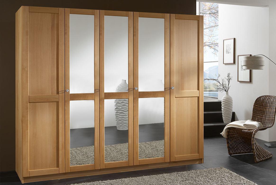 Abbildung Kleiderschrank 5 türig mit 3 Spiegel Buche massiv | F25
