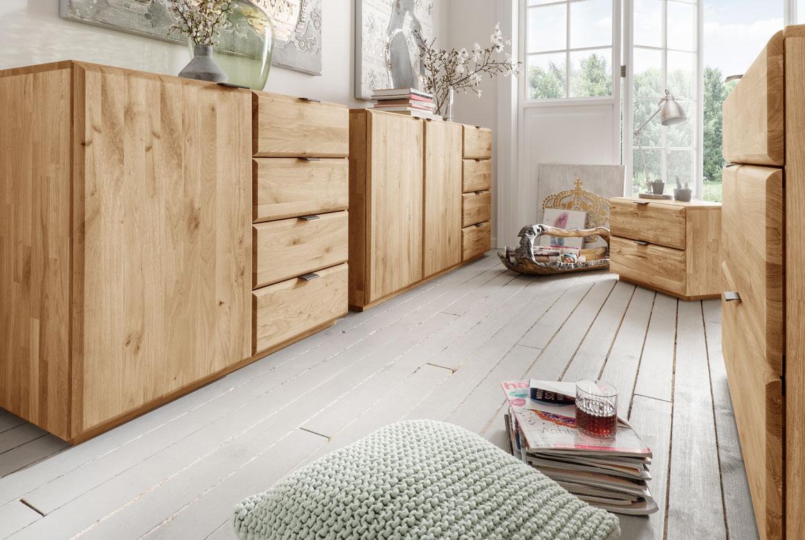 Abbildung Schlafzimmer Kommoden Massivholz Wildeiche geölt | Front 1