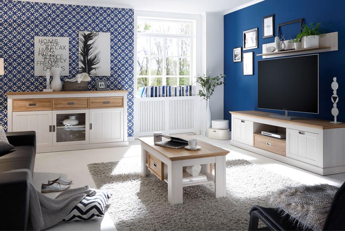 Landhausstil Wohnzimmer Möbel weiß Messina | W02