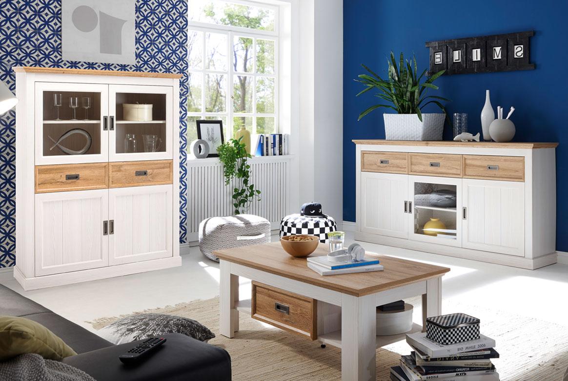 Landhausstil Wohnzimmer Möbel weiß Messina | W03