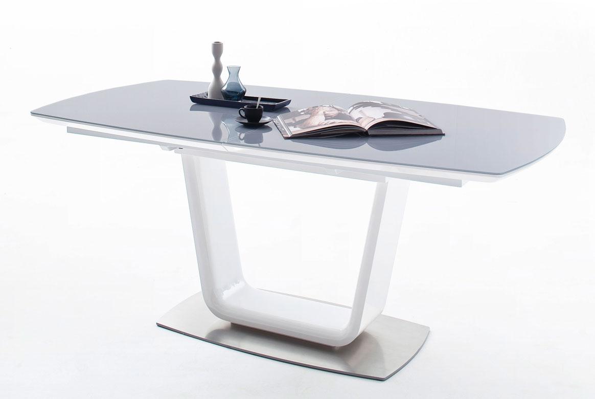 Esstisch mit Synchronauszug | Xander | Sicherheitsglas grau | XA18