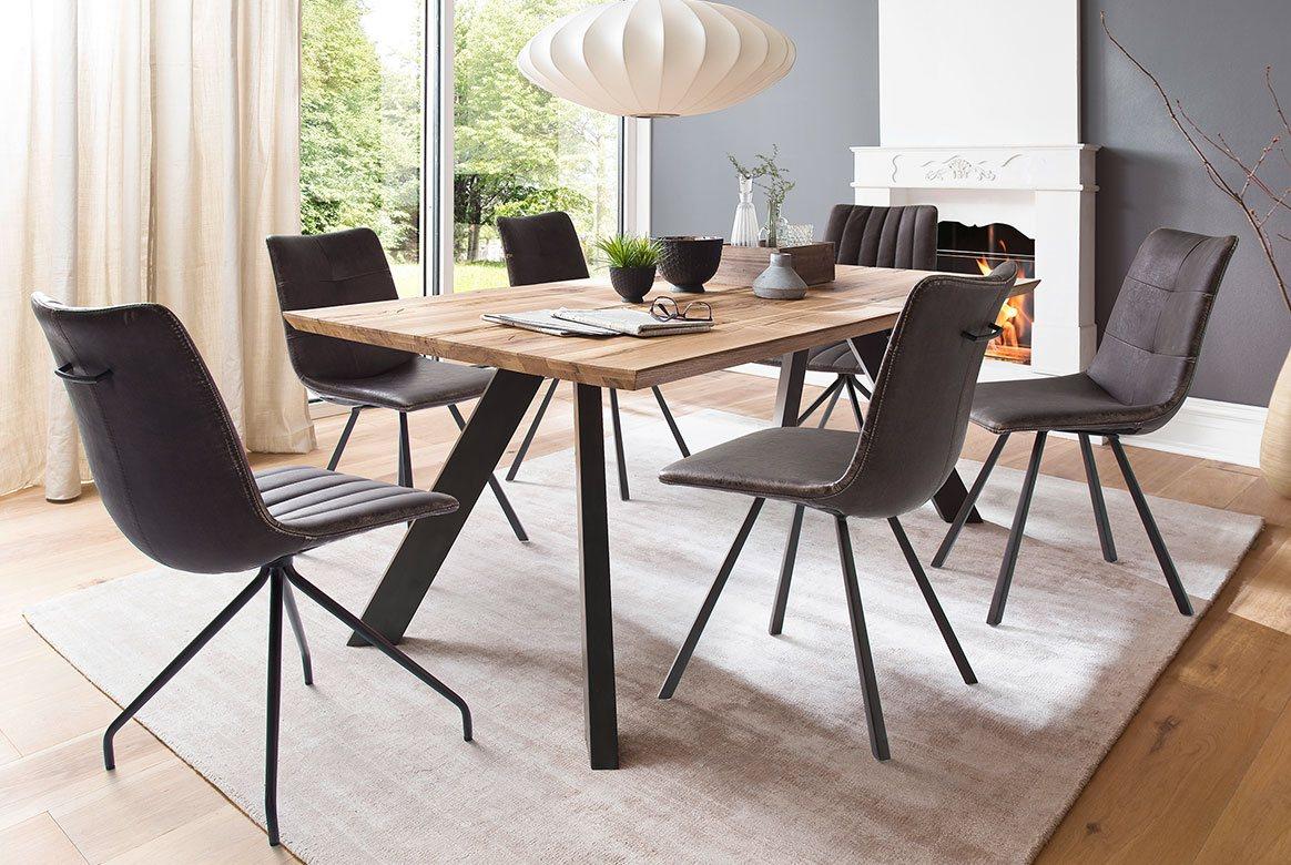 Tischgruppe (5-tlg.) Eiche massiv mit Vintage Stuhl Alessia | Milton.