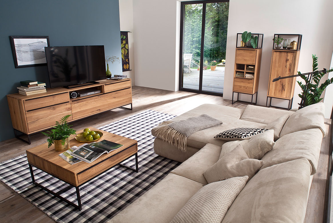 Wohnzimmer Wildeiche teilmassiv mit Gebrauchsspuren Dakar | W03