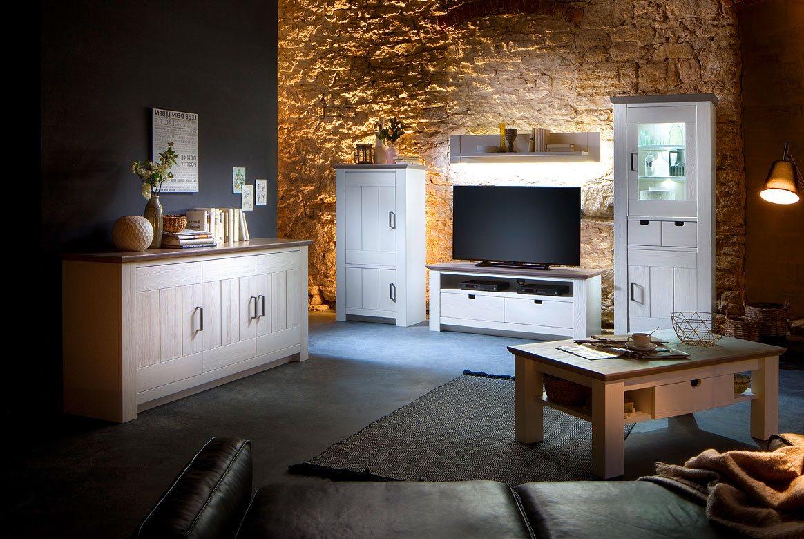 Abbildung Wohnwand Massivholz Landhausstil weiß mit Sideboard Palma   T01