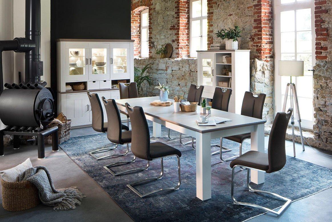 Abbildung Esszimmer Massivholz Landhausstil weiß mit Tisch 180(280) cm Palma | T60