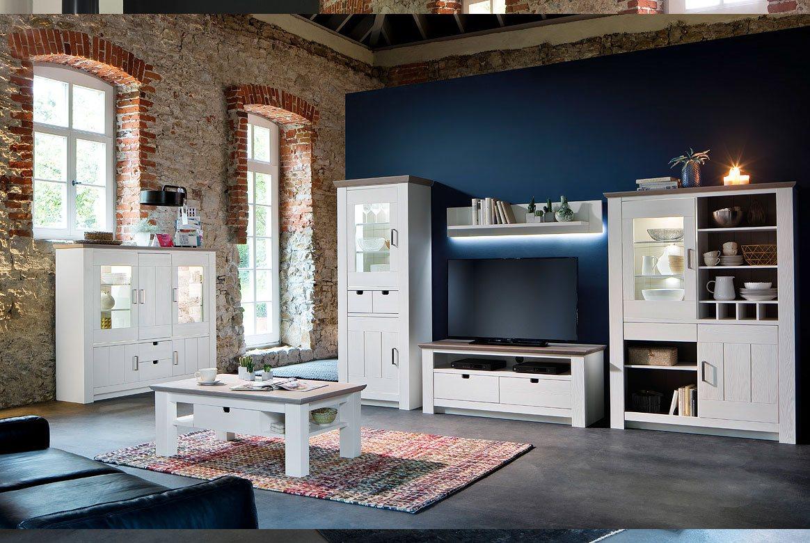 Abbildung Wohnzimmer Massivholz Landhausstil weiß mit Couchtisch Palma | T65