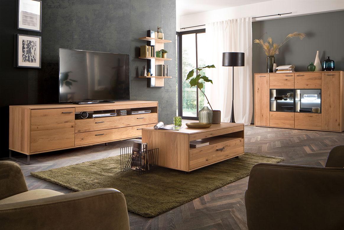 Wohnzimmer teilmassiv komplett Asteiche Bianco geölt Portland | G01