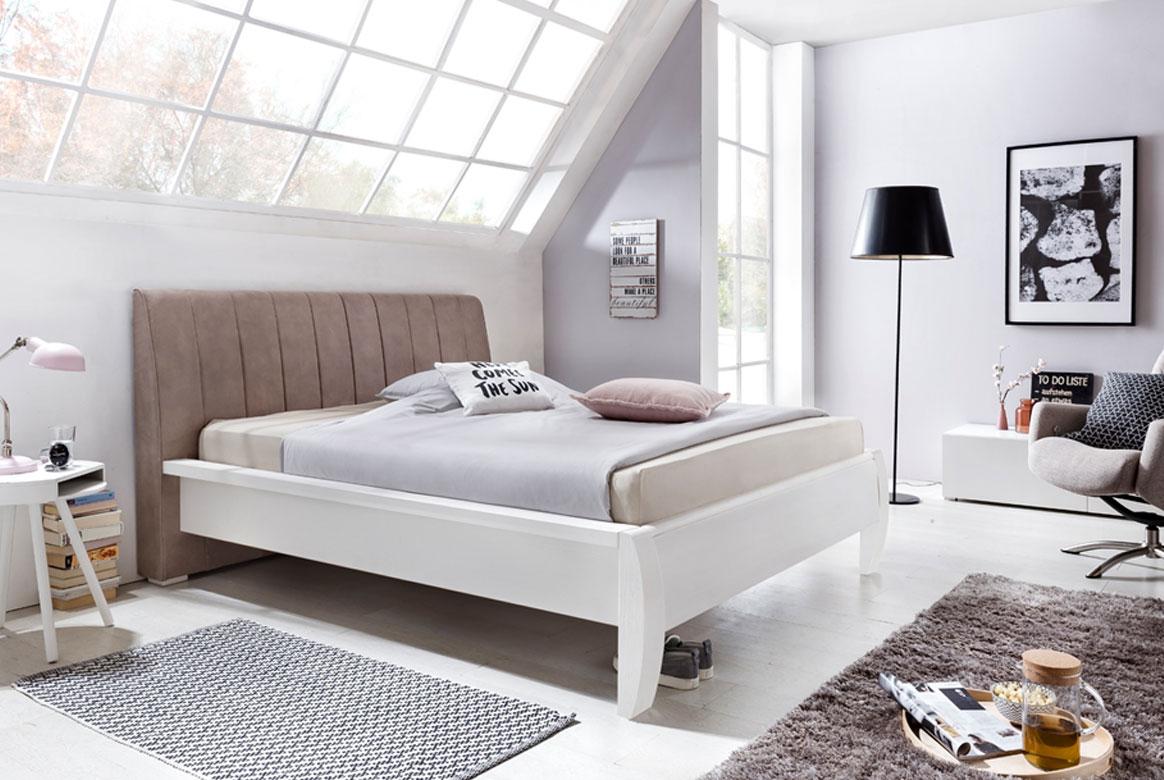 Abbildung Landhausstil Bett mit Polsterkopfteil 180x200 cm weiß Elba | T10