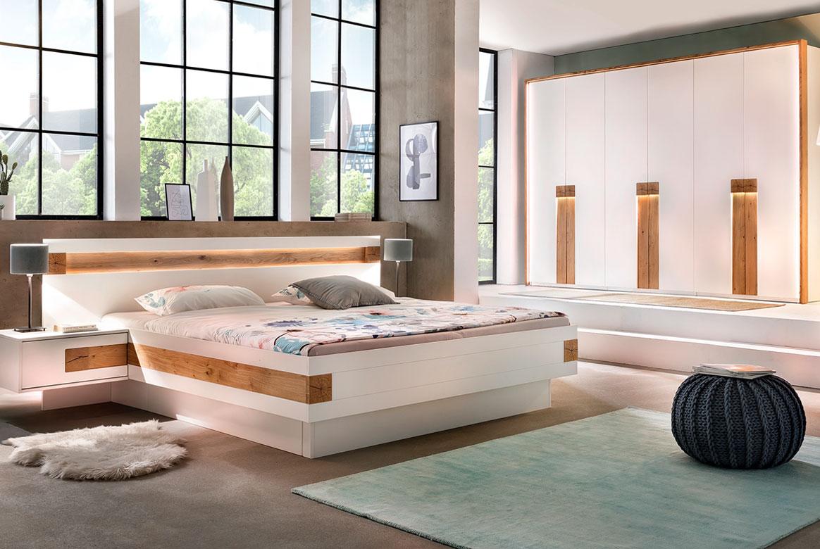 Schlafzimmer weiß mit Hirnholz Aplikation massiv EOS | S01
