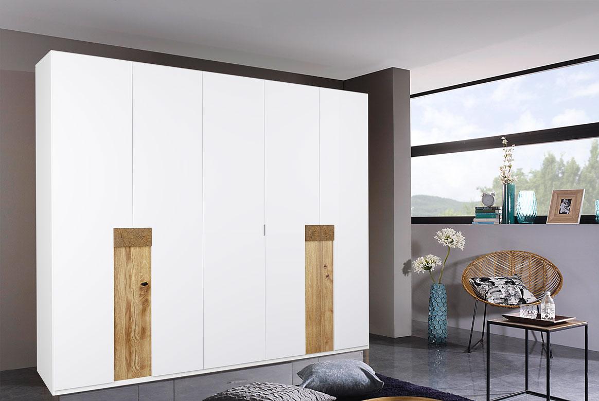 Kleiderschrank weiß mit Hirnholz Aplikation massiv EOS | T05