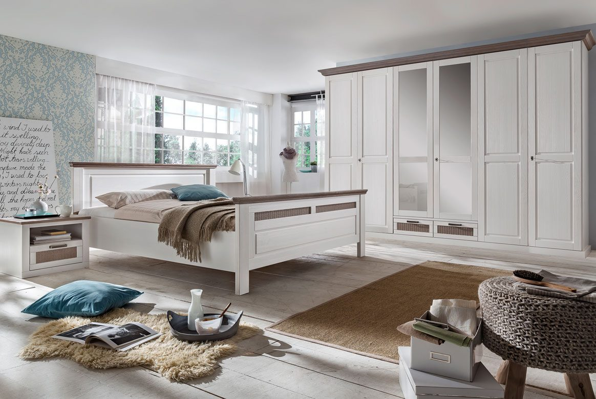 schlafzimmer landhausstil wei lugano kiefer. Black Bedroom Furniture Sets. Home Design Ideas
