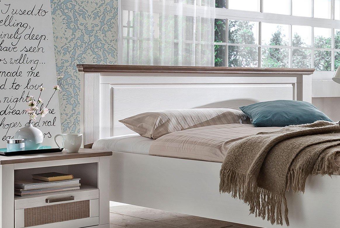 Bett Landhaus 180x200 cm weiß teilmassiv Lugano