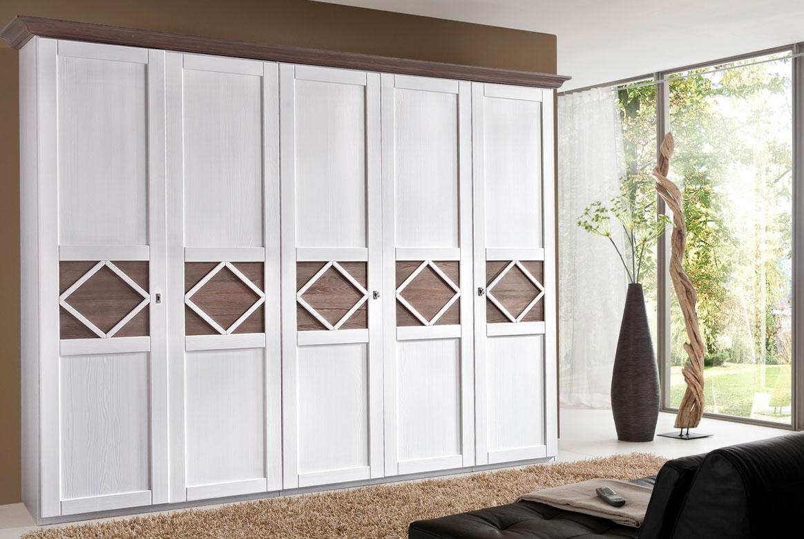 Kleiderschrank Landhaus weiß teilmassiv Mistral | T25