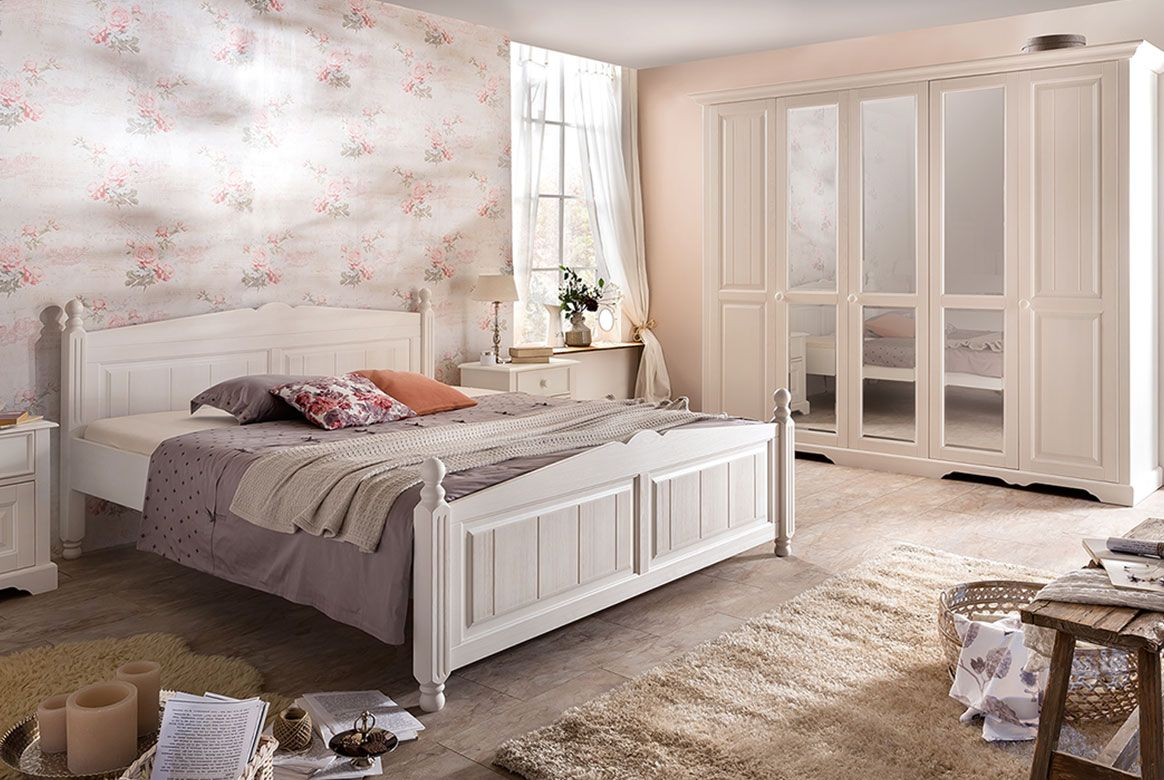 schlafzimmer landhausstil wei pisa romantik. Black Bedroom Furniture Sets. Home Design Ideas
