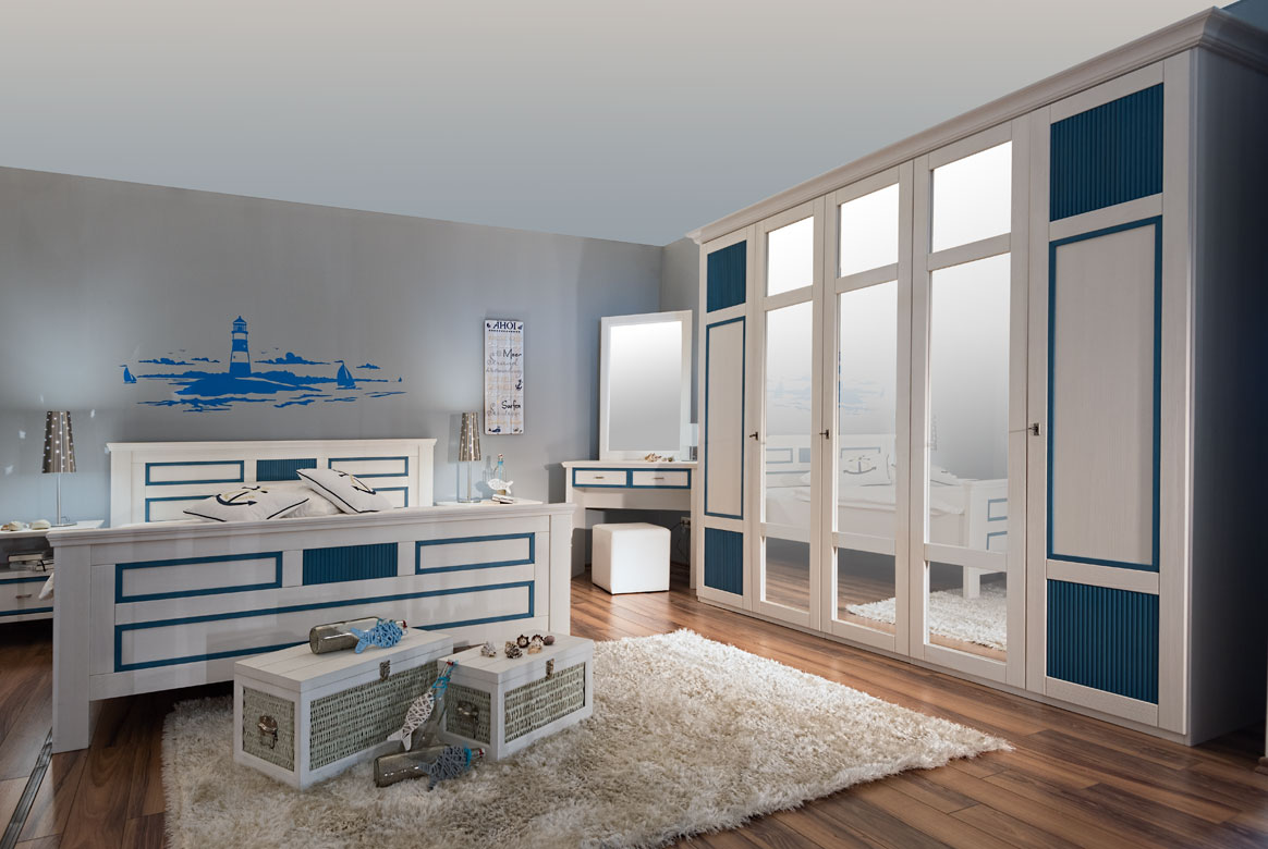 Schlafzimmer Landhaus weiß teilmassiv Seaside