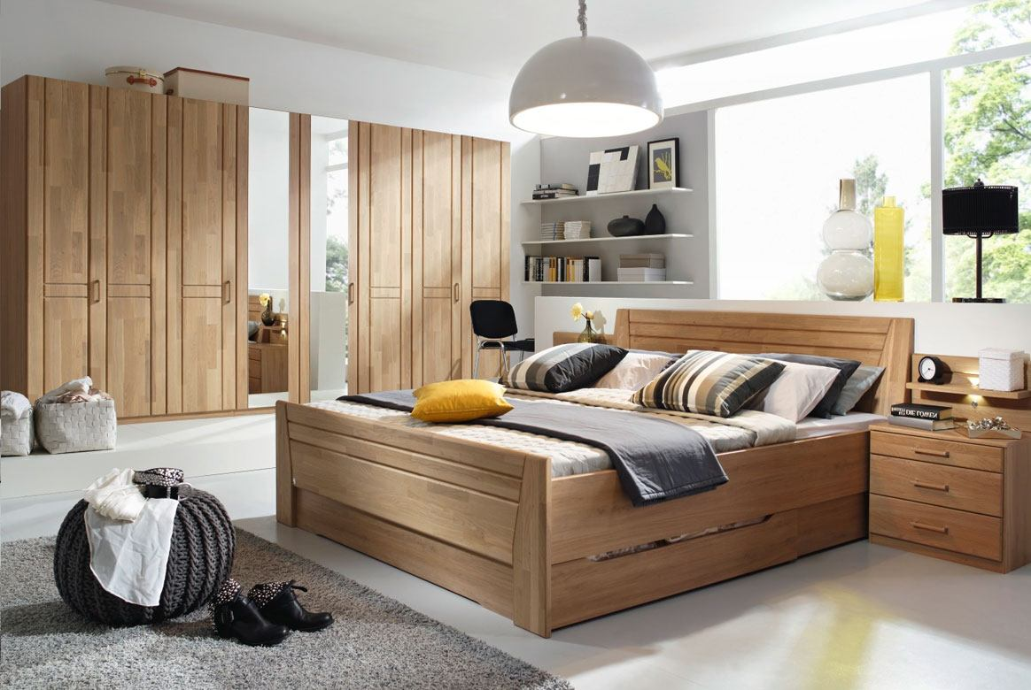 Abbildung Schlafzimmer Wildeiche mit Komfortbett 180x200 u. Kleiderschrank 8-trg. 2 Spiegel Sitara | W69