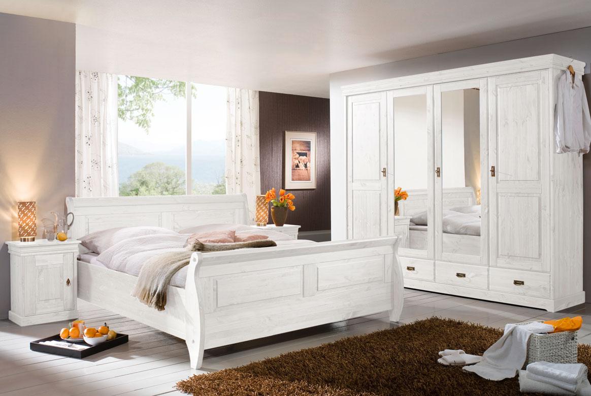 Schlafzimmer Massivholz | San Diego | Kiefer weiß | S02