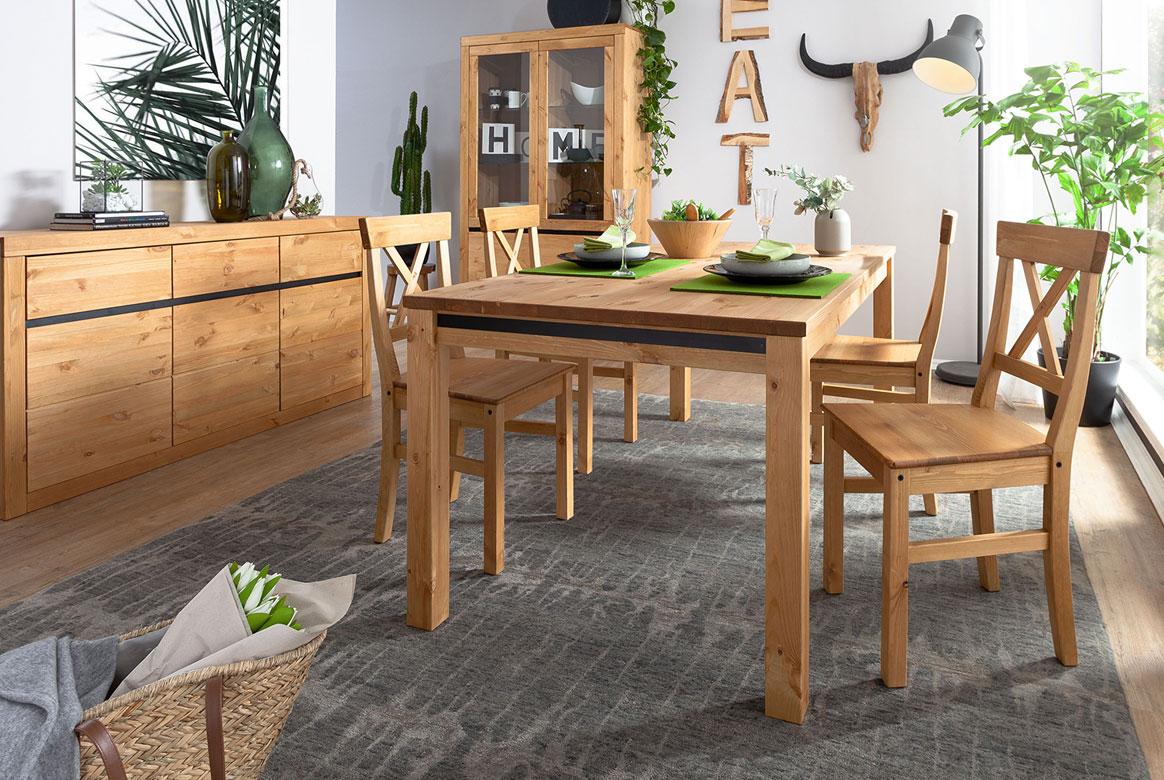 Tischgruppe Kiefer massiv weiß gebeizt Savi | T80