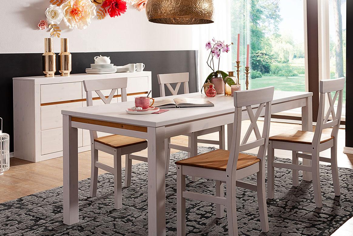 Tischgruppe Kiefer massiv weiß gebeizt Savi | W80