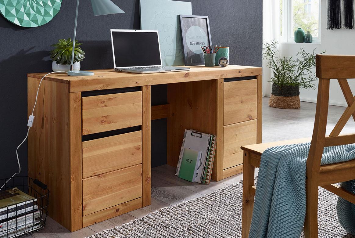 Schreibtisch Kiefer massiv massiv gebeizt geölt Savi | T70