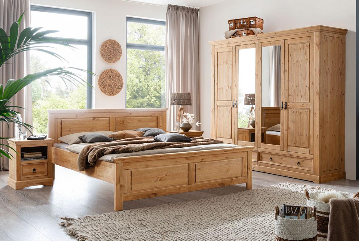 Schlafzimmer Landhaus Kiefer massiv Cinderella | W03