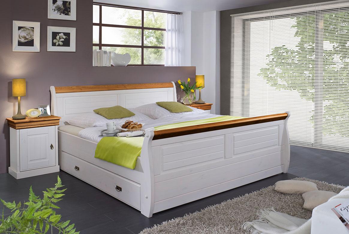 Schlafzimmer Landhausstil weiß massiv Linea
