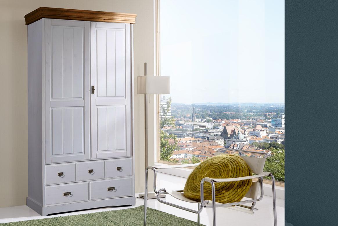 Bilder: Kleiderschrank Landhausstil Weiß Massiv Linea
