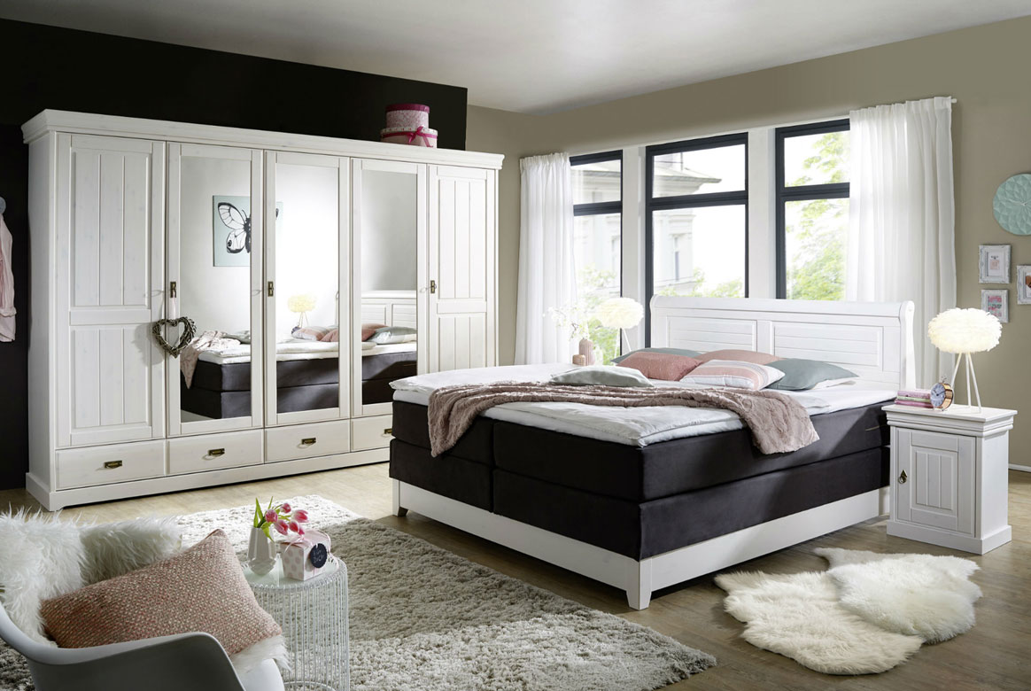 schlafzimmer landhausstil linea neu boxspringbett. Black Bedroom Furniture Sets. Home Design Ideas