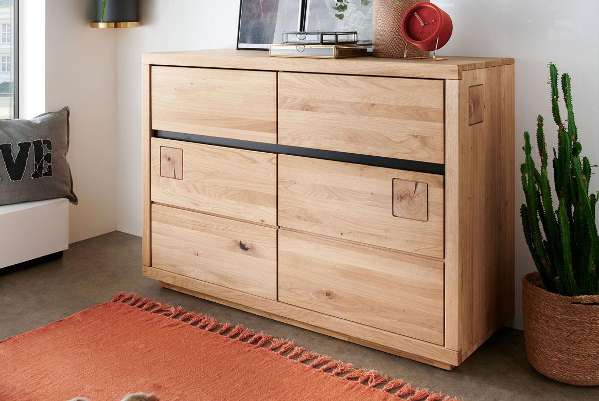 Sideboard Massivholz Wildeiche geölt Madea | T07