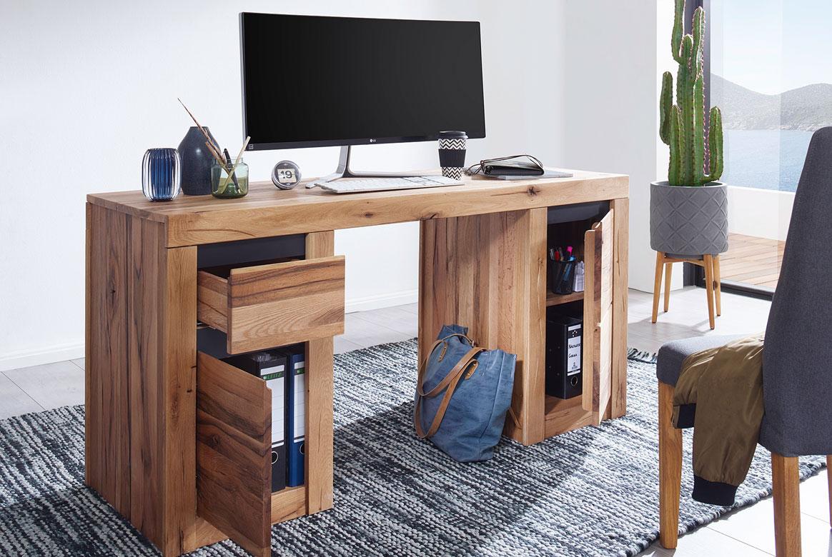 Schreibtisch Massivholz Wildeiche geölt Toskana | G01
