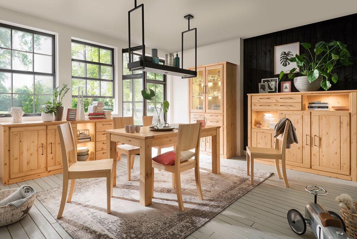 Esszimmer Kiefer Massivholz Gotland | W01