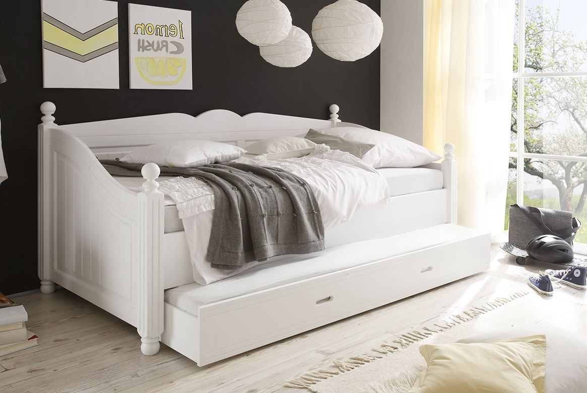 kojenbett landhausstil weiss cinderella kiefer teilmassiv k03. Black Bedroom Furniture Sets. Home Design Ideas