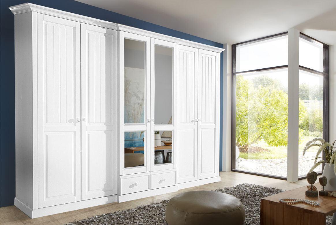 Bilder: Kleiderschrank Landhausstil Weiß Teilmassiv Cinderella