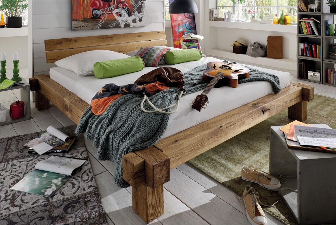 Bettgestell Massivholz - Balkenbett Wildeiche TPT1 | B02