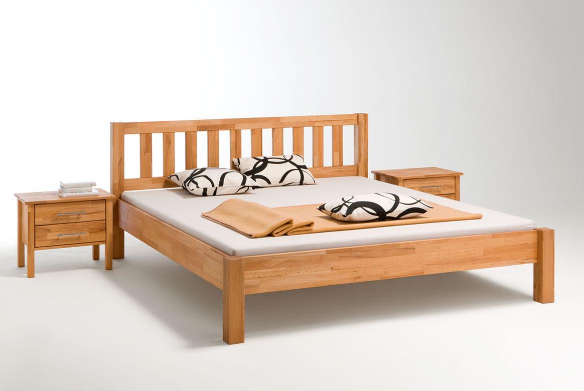 Massivholz Bett von 140 - 200 cm mit Holz Kopfteil Beny   B35