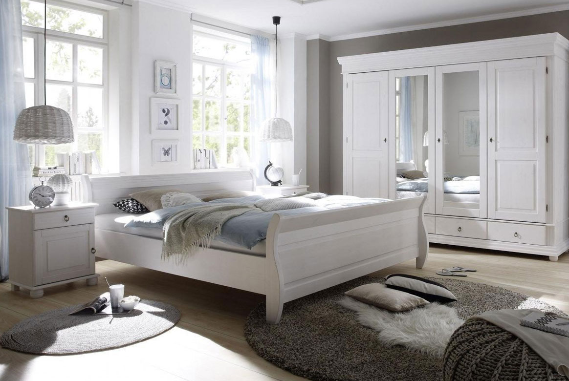 schlafzimmer landhausstil olso kiefer massivholz weiss s03. Black Bedroom Furniture Sets. Home Design Ideas
