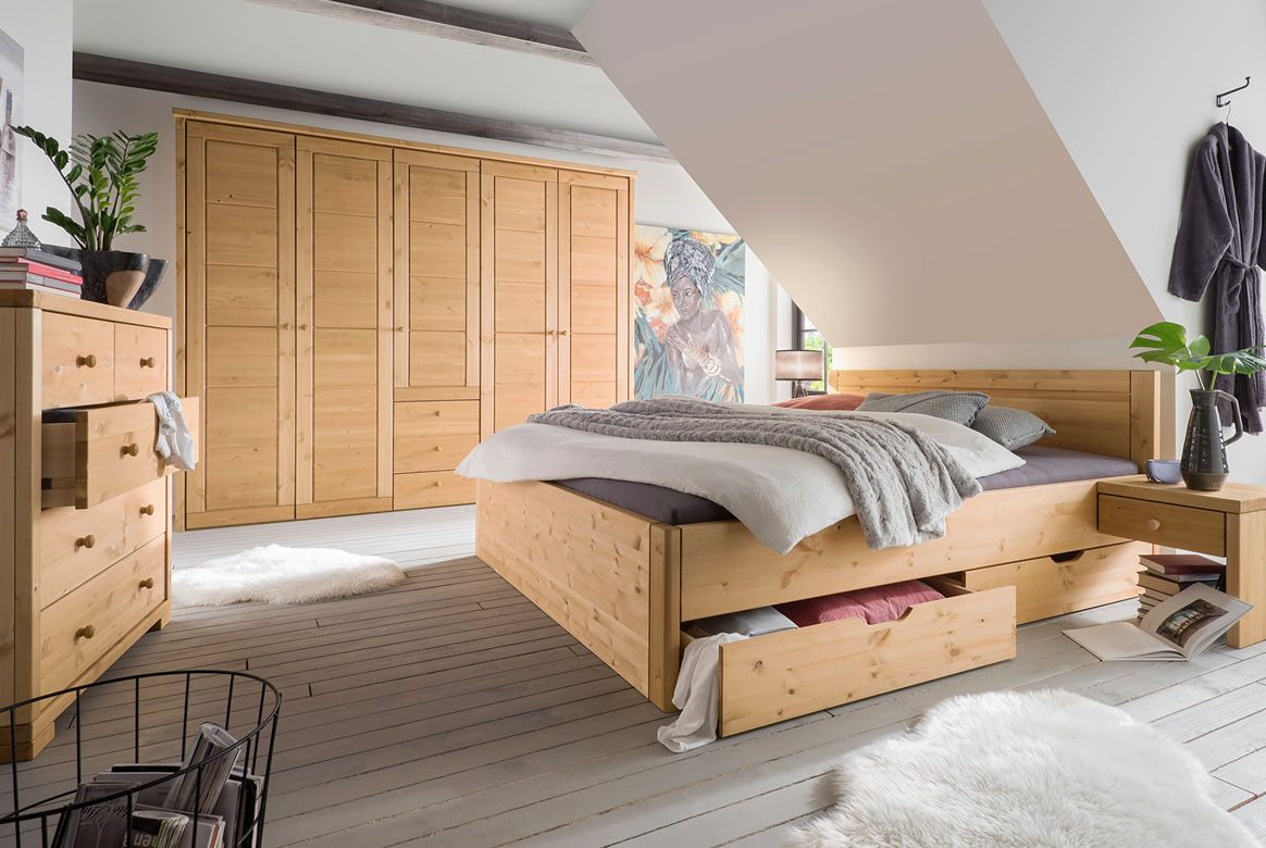 Schlafzimmer Massivholz (4-tlg.) in Varianten SK291 Vita