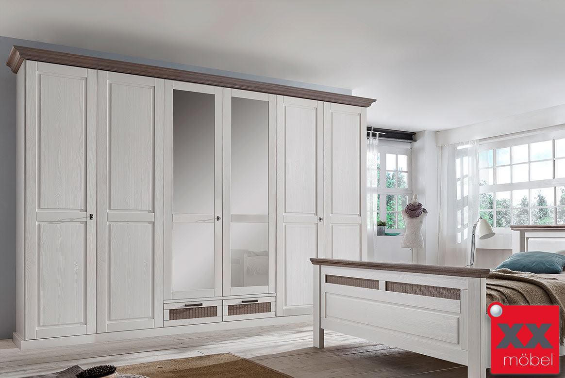 kleiderschrank landhausstil wei lugano romantik schlafzimmerschrank t4 ebay. Black Bedroom Furniture Sets. Home Design Ideas